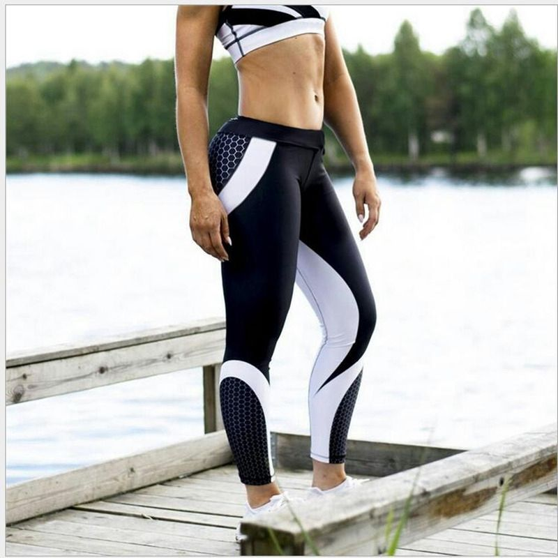 89b55a8d6b $15.84 - Awesome Hayoha Mesh Pattern Print Leggings fitness Leggings For Women  Sporting Workout Leggins Elastic Slim Black White Pants - Buy it Now!