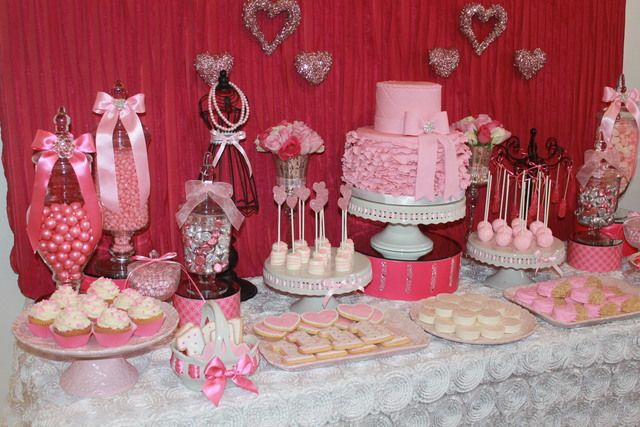 Sweetheart Birthday Party Ideas Photo 1 Of 32 Valentines Birthday Party Dessert Table Birthday Birthday Party Desserts