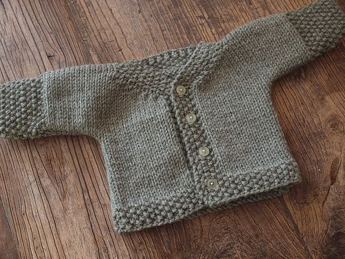 One finished baby cardigan, ready for baby! Such an easy pattern ...