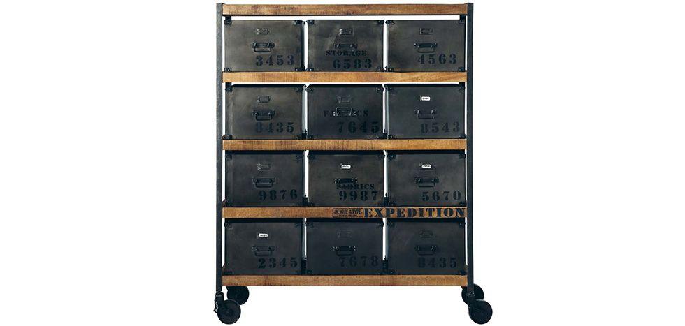Commode vintage industriel à roulettes - Acier et bois For the - Meuble Bibliotheque Maison Du Monde