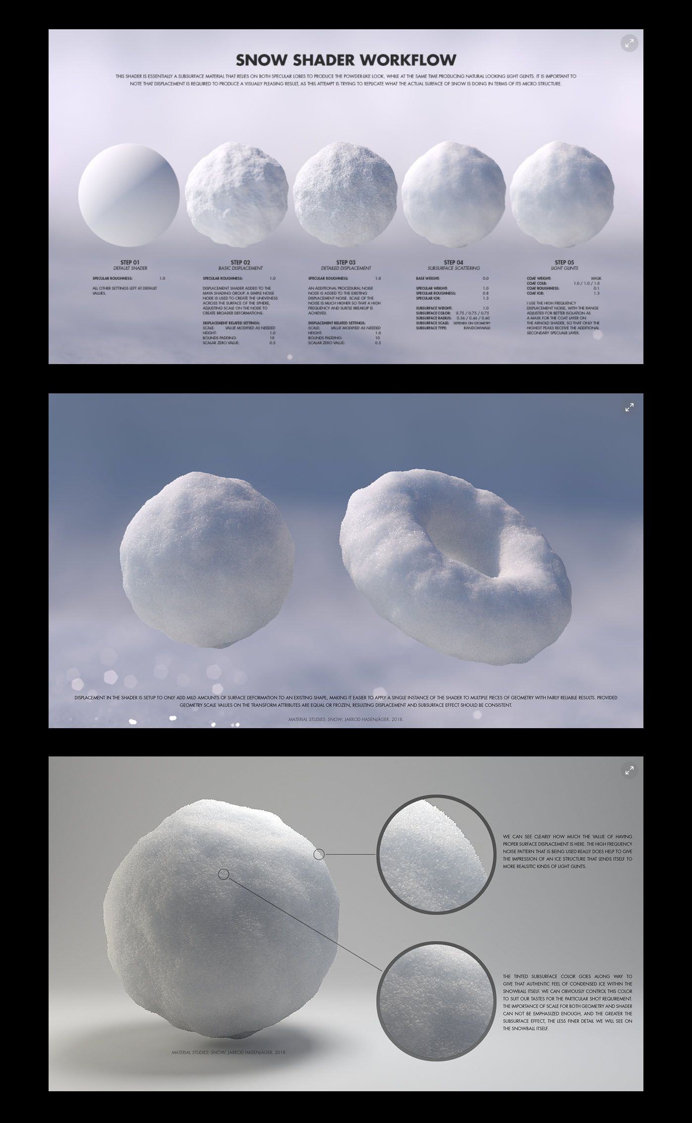 Material Studies : Snow Shader Workflow by Jarrod Hasenjager