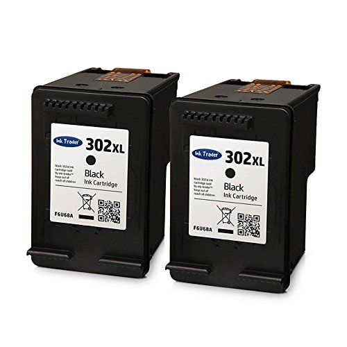 2x Ink Trader Remanufactured Hp 302xl Black Ink Cartridges For Use