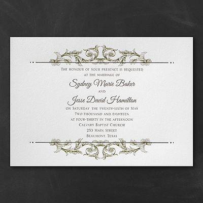 Delicately defined elegant white wedding invitations http delicate flourishes and crisp letterpress printing make this ecru wedding invitation the definition of lovely stopboris Image collections