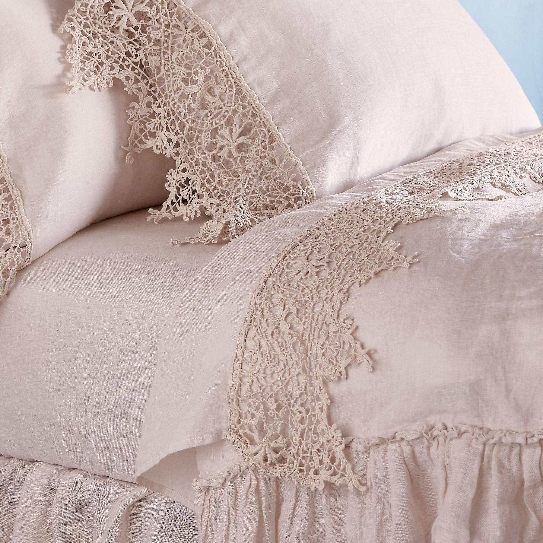 """Linen Lace Bed spread in Size 90/""""x 108/"""" color Beige"""