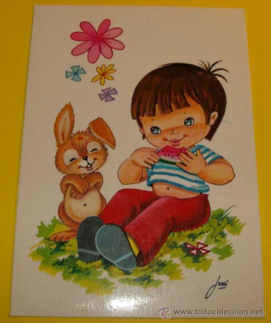 POSTAL DE NIÑOS. AÑOS 70 - 80. INDUSTRIAS GRAFICAS BERGAS. DIBUJO NNIÑO Y CONEJITO, SANDIA 616 (Postales - Niños)