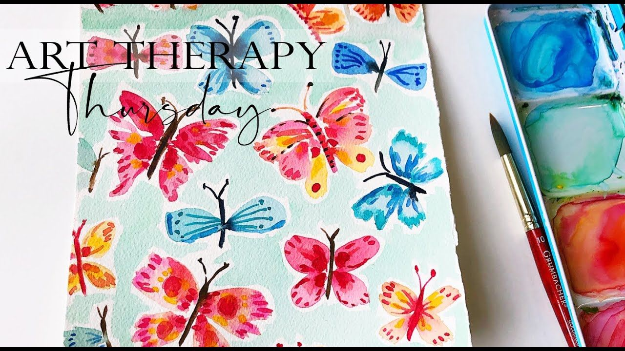 Butterfly Painting Watercolor Art Therapy Thursday Step By Step