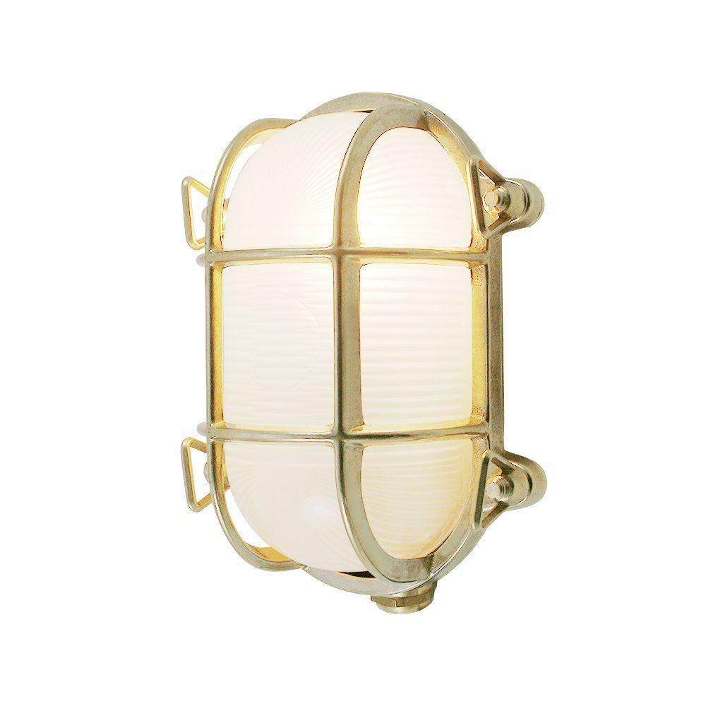 Foresti Suardi Ovale Maritime Lampe Schiffslampe Aus Poliertem Messing 175 X 130 Mm Ip 54 E27 Sockel Satiniertes Glas Amazon De Beleucht Wandlamp