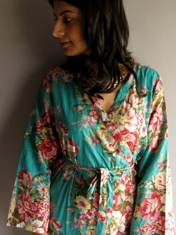 Ankle length Teal Kimono Robe - Floral Crossover Robe..getting ready ... 65e990a0b