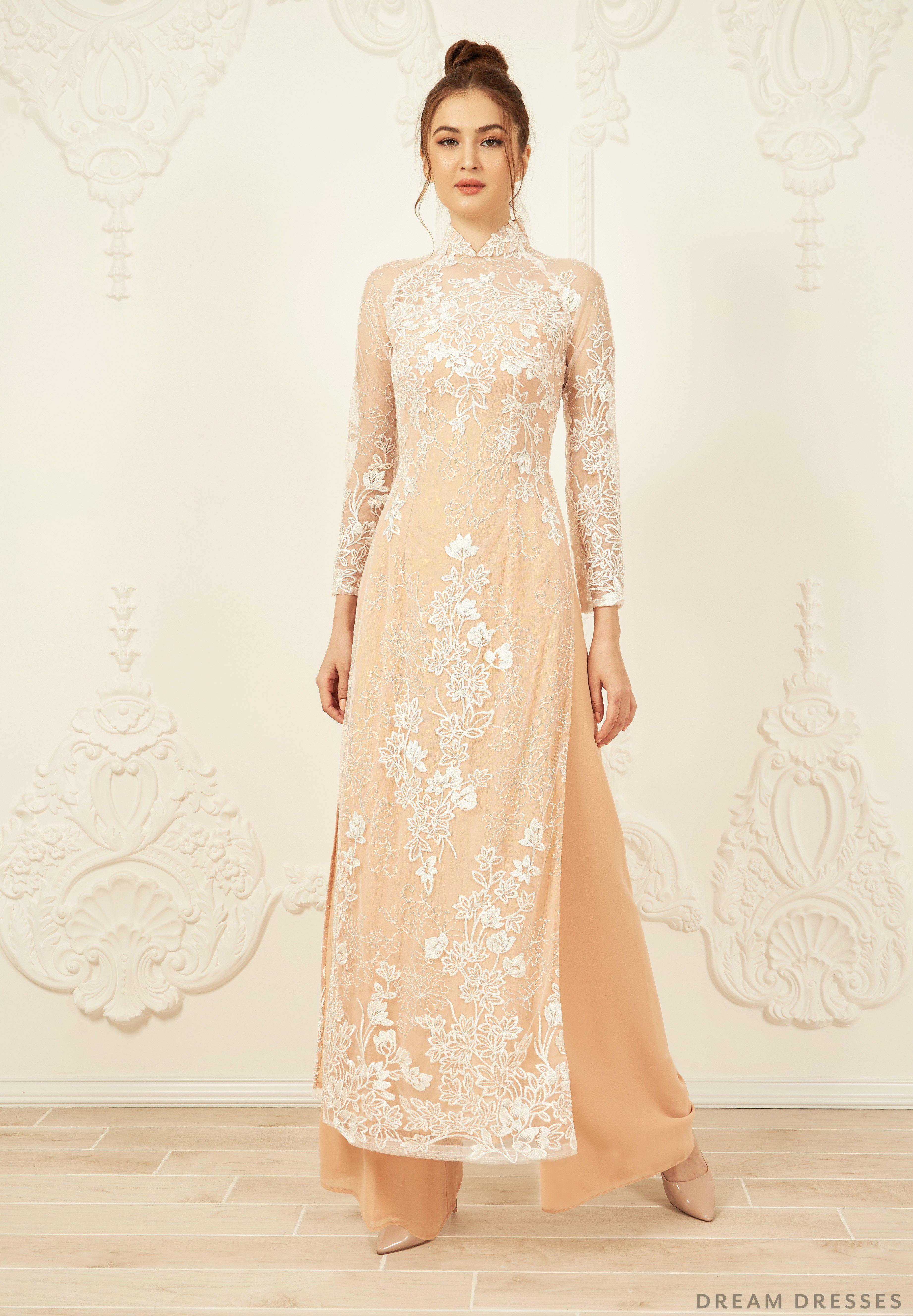 Gold Ao Dai Vietnamese Lace Bridal Dress Dream Dresses
