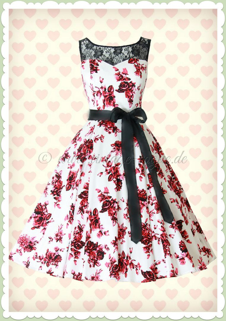 Hearts & Roses 10er Jahre Vintage Rosen Petticoat Kleid - Rosaceae