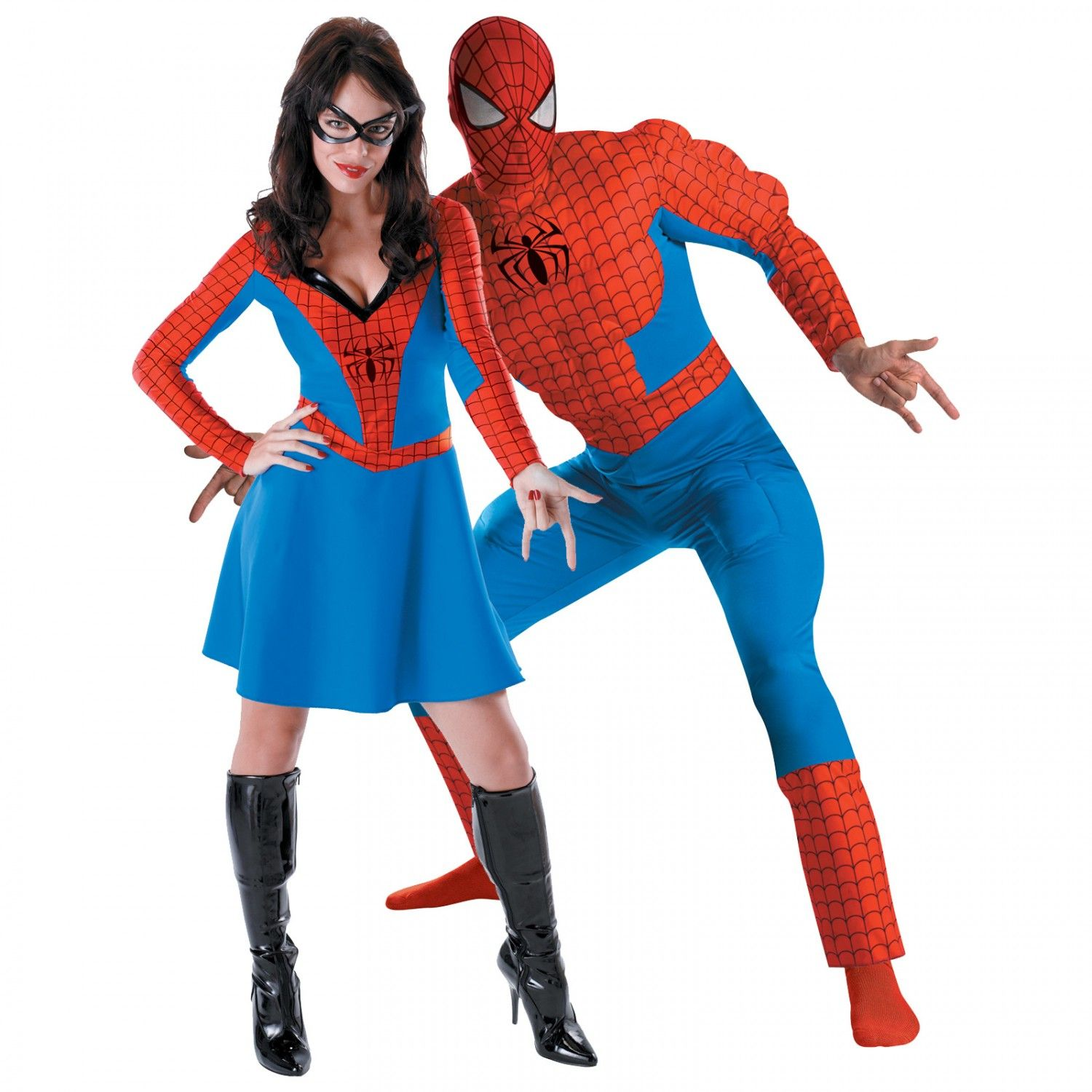 Classic Spider Girl and Deluxe Spiderman Muscle Couples Costume ...