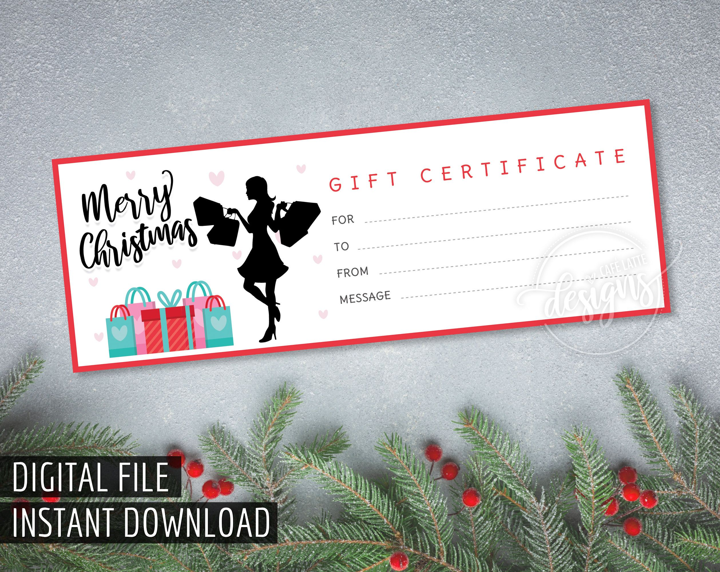 Christmas gift certificate printable gift certificate