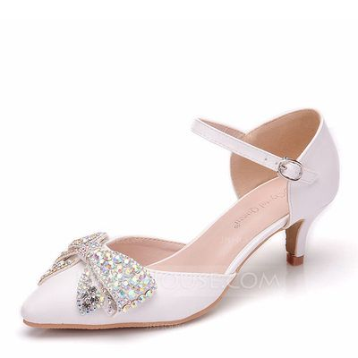 62de77040f54  £ 30.00  Women s Leatherette Low Heel Closed Toe Pumps Sandals With  Bowknot Crystal (047170312)