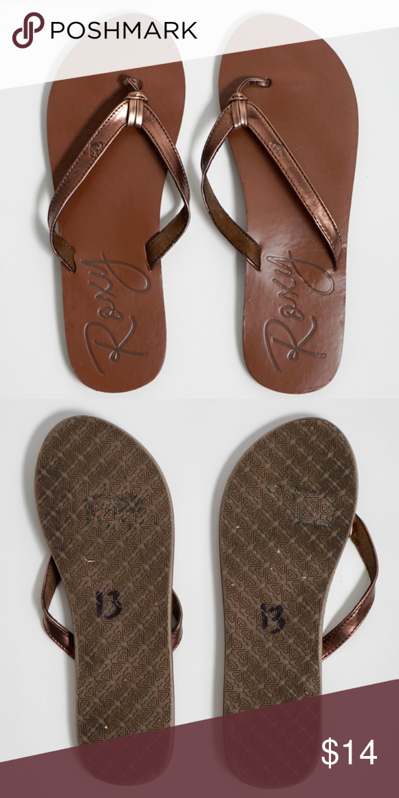 f8ffdc72c Roxy Bronze Brown Flip Flops Size 8 A brown pair of sandals with bronze  colored strap. Visit. February 2019