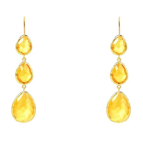 Latelita London Gold Petite Drop Earring Citrine Hydro 0CI1Jb
