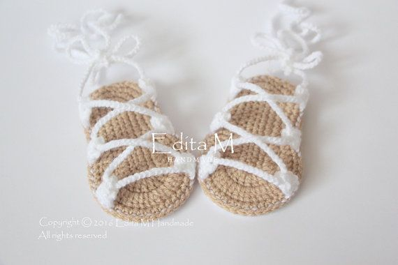 Crochet baby sandals, gladiator,booties, shoes,baby slippers, flip ...