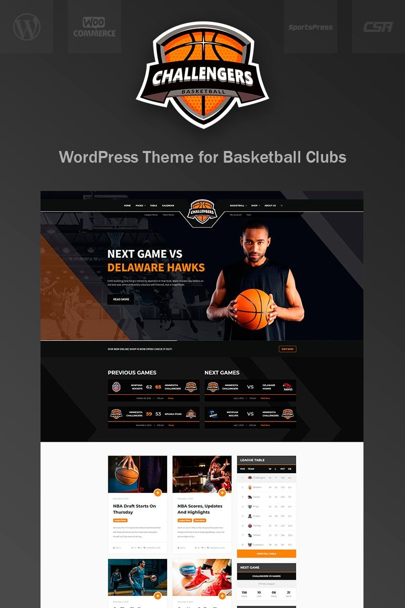 Challengers Basketball Club Sports WordPress Theme Club Basketball Challengers WordPress WordPress Theme Theme WordPress