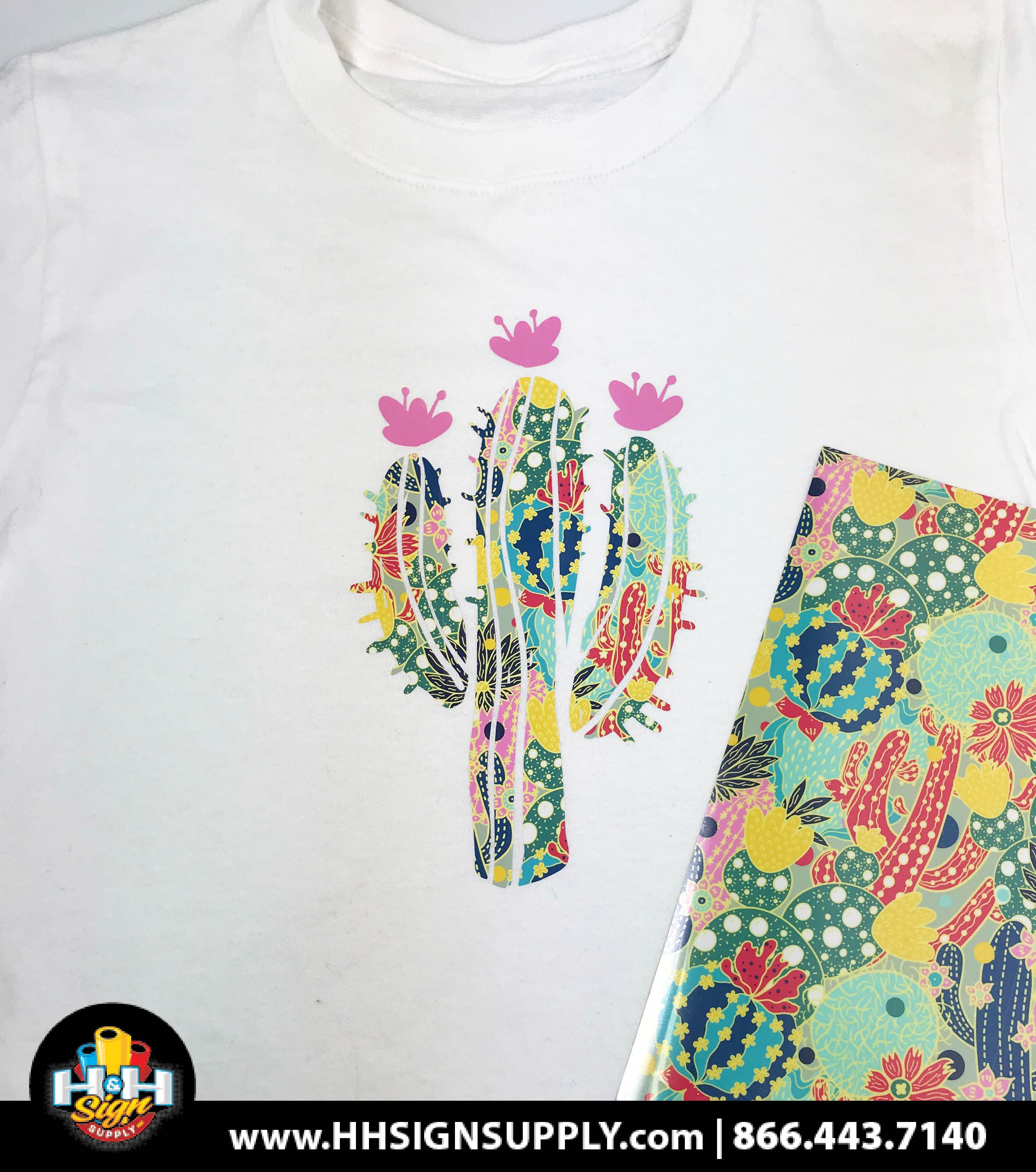 Pre Masked Floral Cactus Heat Transfer Vinyl By The Foot