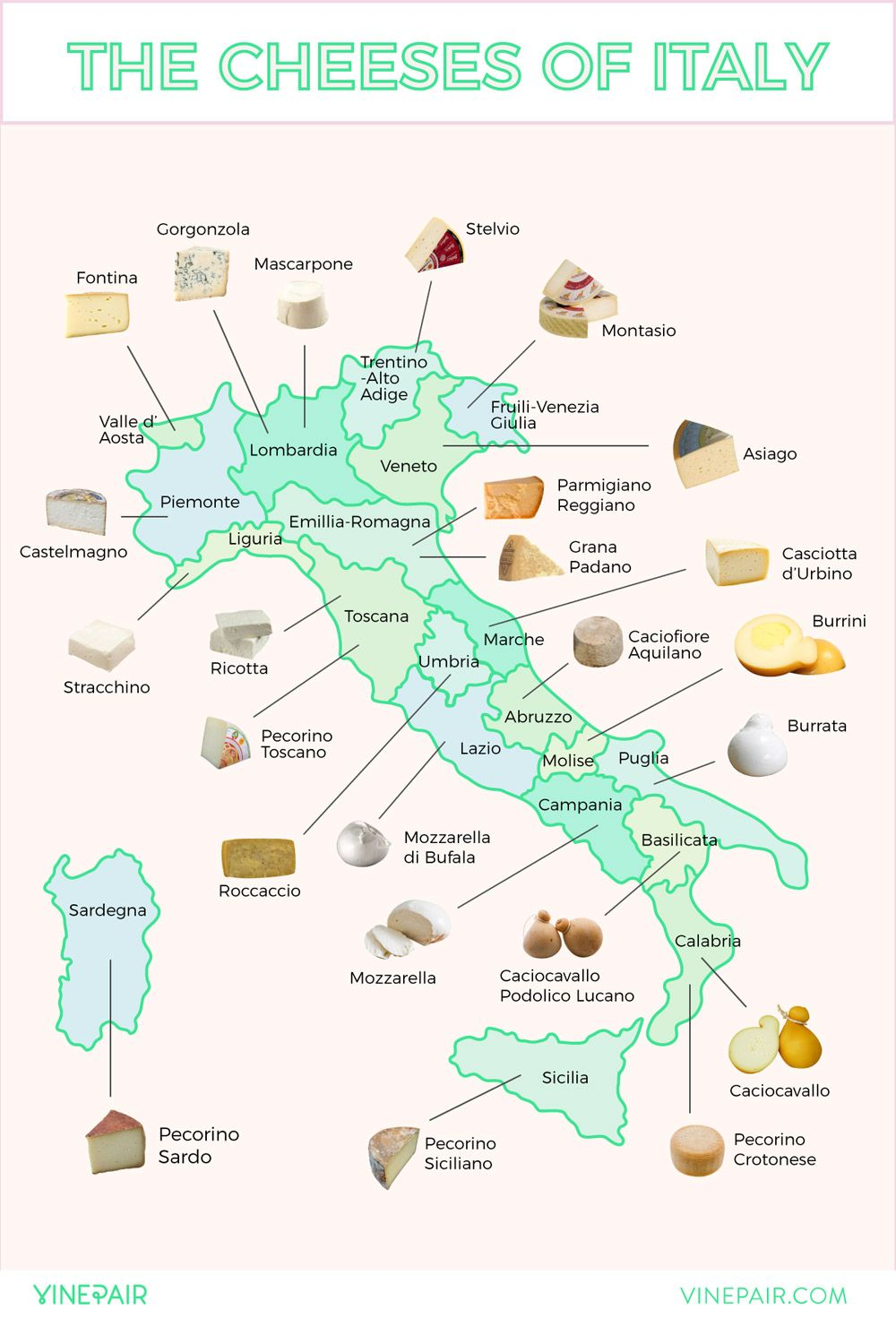 The Cheeses Map Of Italy This Is Italy Cheese In 2019