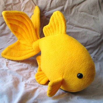 Veiltail goldfish plushie yellow plush animal stuffed for Fish stuffed animal