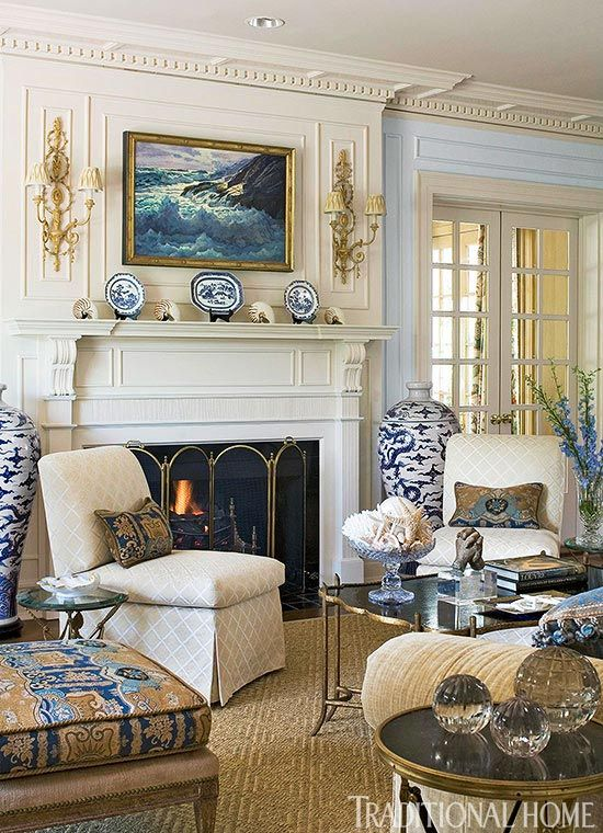 Get the Look: Clic Mantels | Interiors - Living & Family Rooms ... Blue And White Traditional Home Design Ideas on cottage style design ideas, upholstered headboard design ideas, chalkboard paint design ideas, lake house design ideas, red kitchen design ideas,