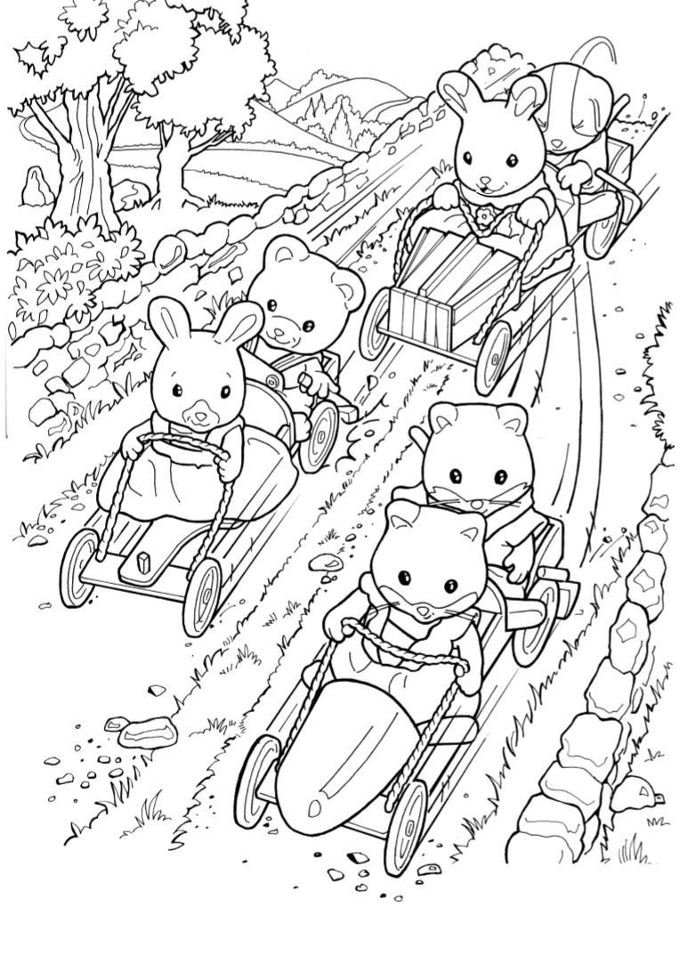 Coloring book landforms - Coloring Page Calico Critters Sylvanian Families