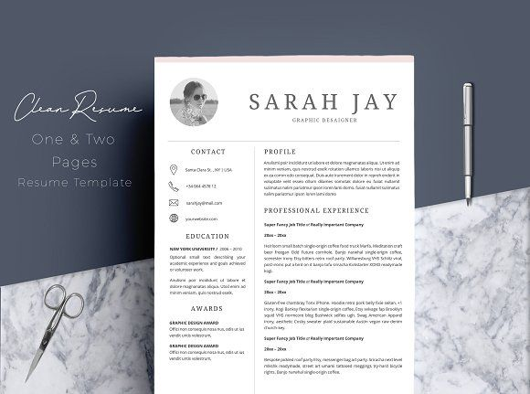 Resume Template 4 pages Clean @creativework247 Resume Templates - resume template for pages