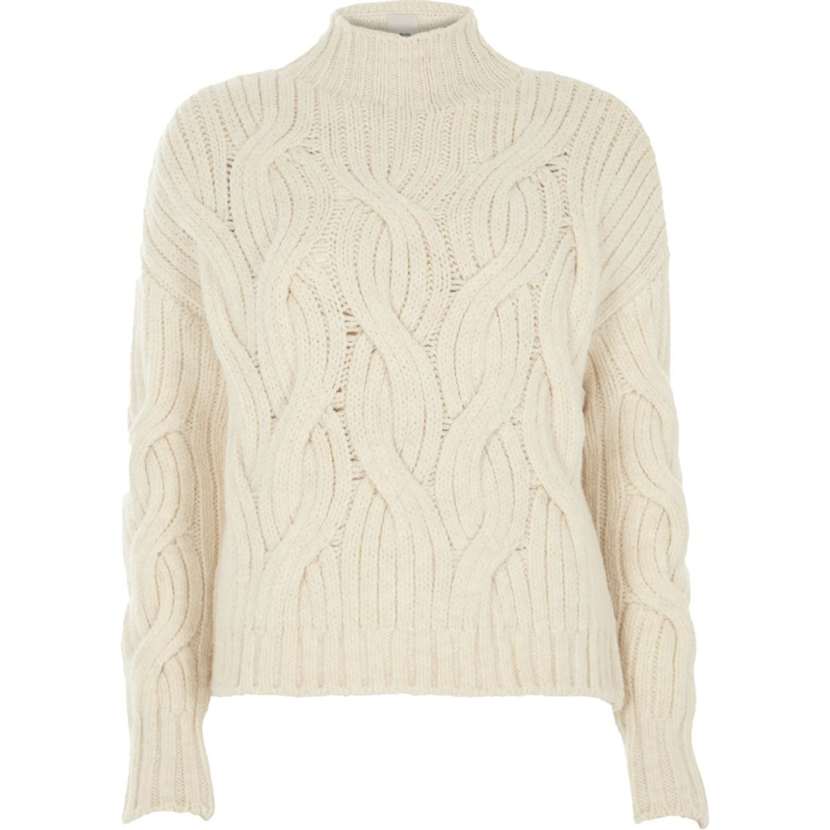 832045423ed Cream high neck chunky cable knit jumper | Winter/Fall wardrobe ...