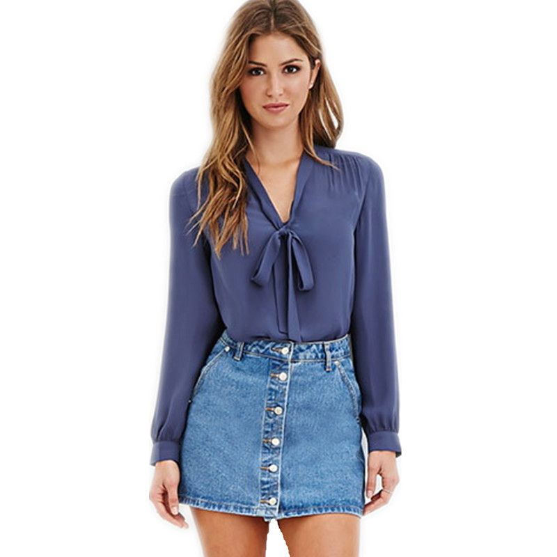 Chiffon Blouse Long Sleeve Blusas 2017 New Fashion Chiffon Bow Puff Sleeve Formal Office Shirts Blusas Y Camisas Mujer