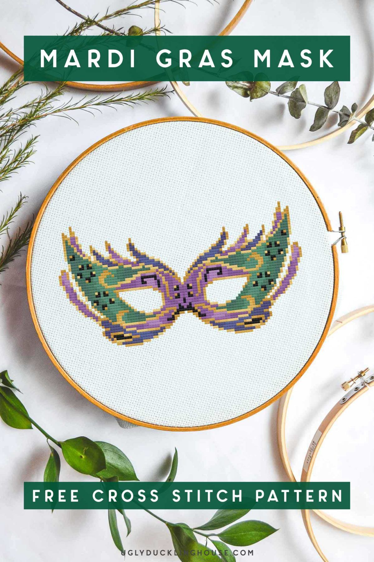 Photo of Mardi Gras Mask | Free Cross Stitch Pattern • Ugly Duckling House#cross #duckl…