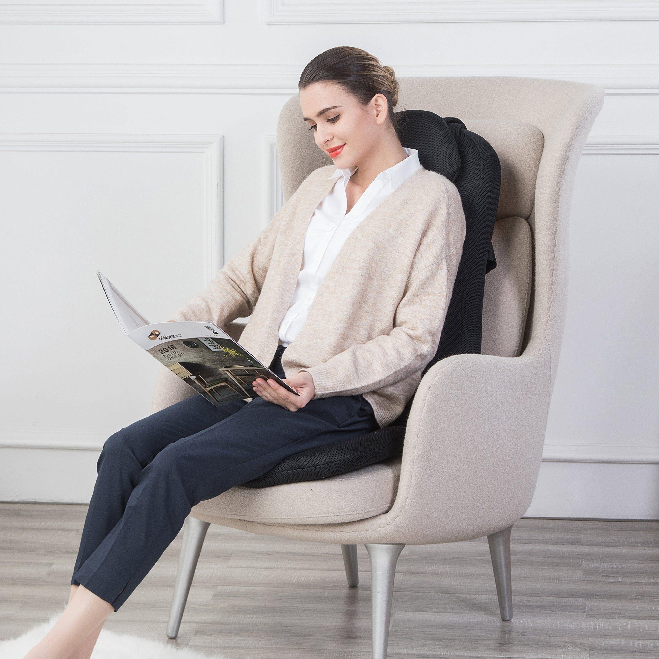 Snailax shiatsu massage seat cushion with heat and rolling nodes