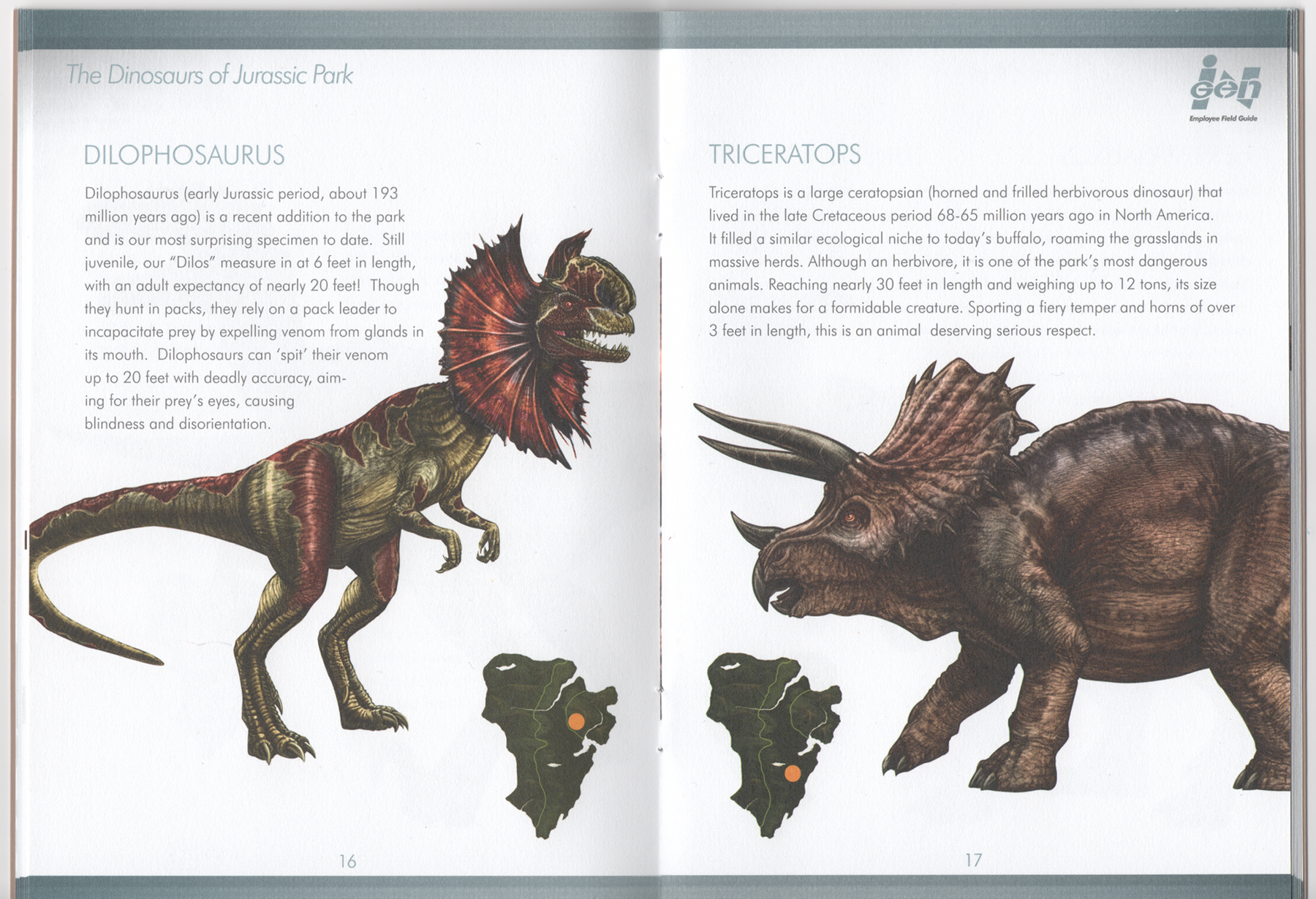 Jurassic World Map Pdf. filming lost world jurassic park  InGen Field Guide 16 Fields