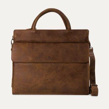 Zakelijke tas geschuurd leer bruin