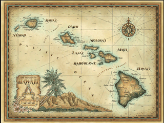 Vintage Hawaiian Map | Purdy nifty office ideas for my sweetie peteee