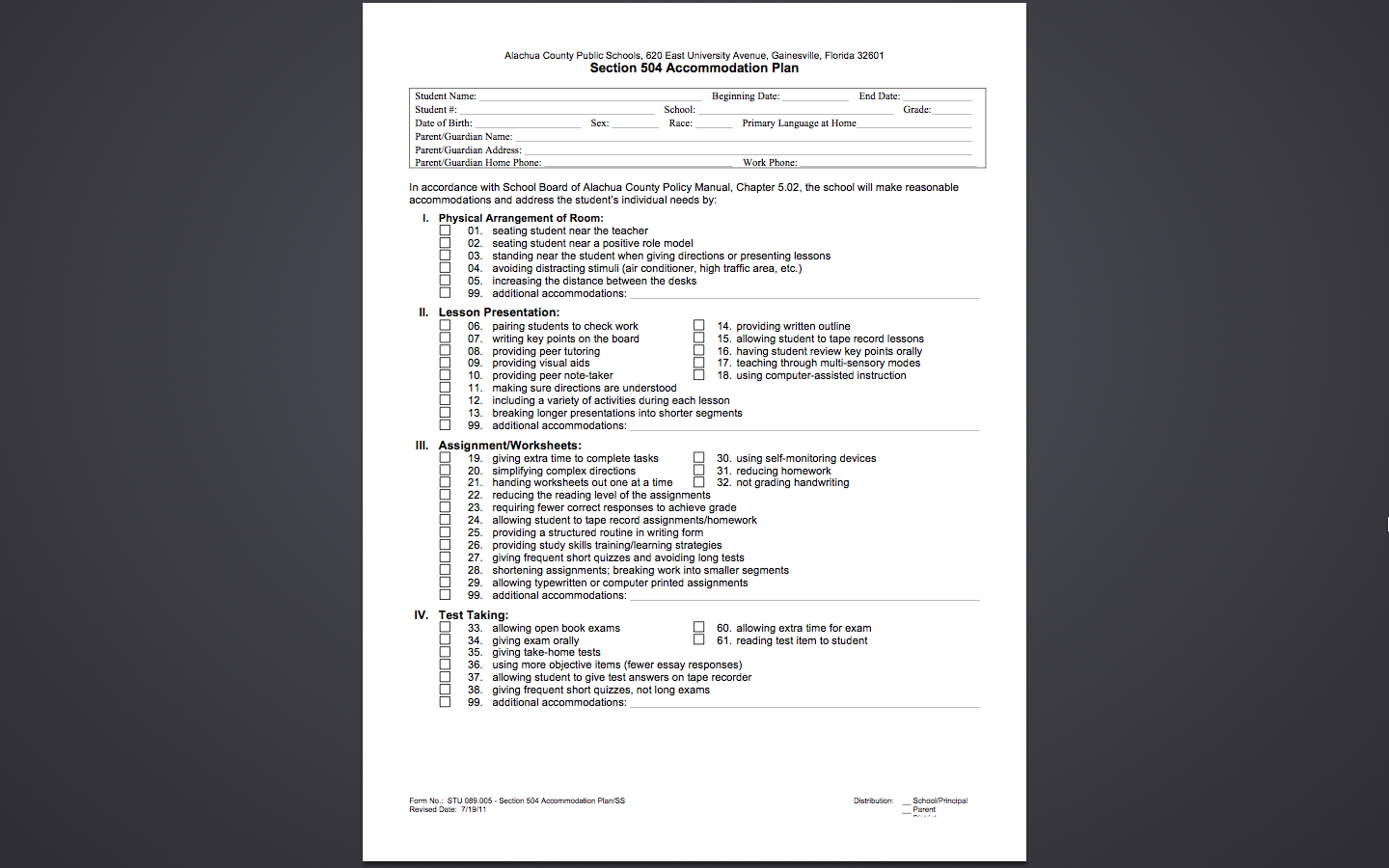 Fl504 Accommodation Plan Template Pg1 School Accommodations