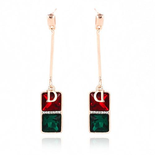 2013 Fashion Simple Two Square And Letter D Shape Drop Earring[US$3.60]