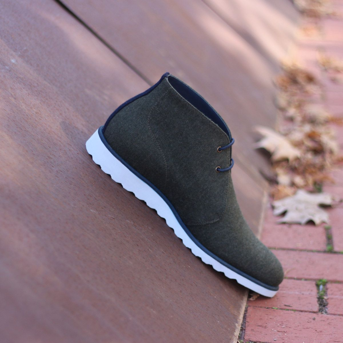 The Chukka Boot in Green Flannel and Navy Blue Luxe Suede - Robert August Apparel