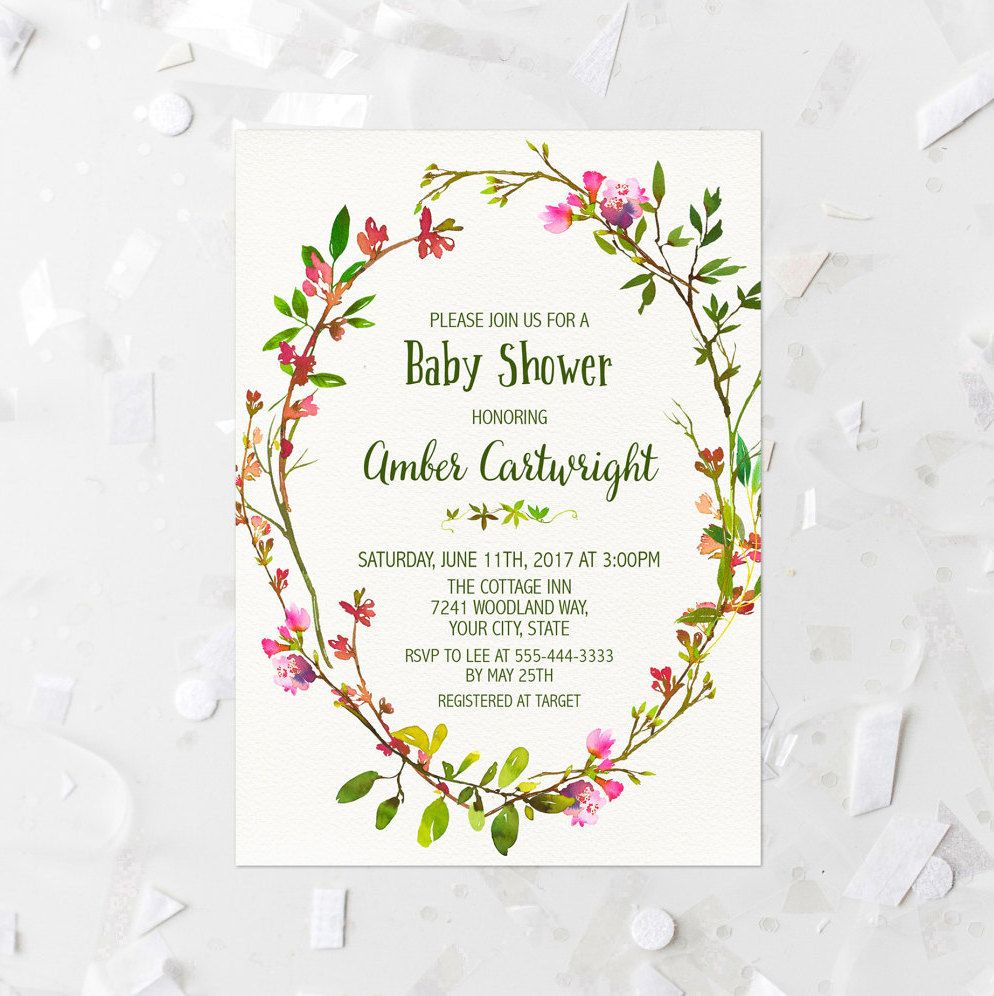 Pink Floral Wreath Baby Shower Invitation Printable Spring Baby ...