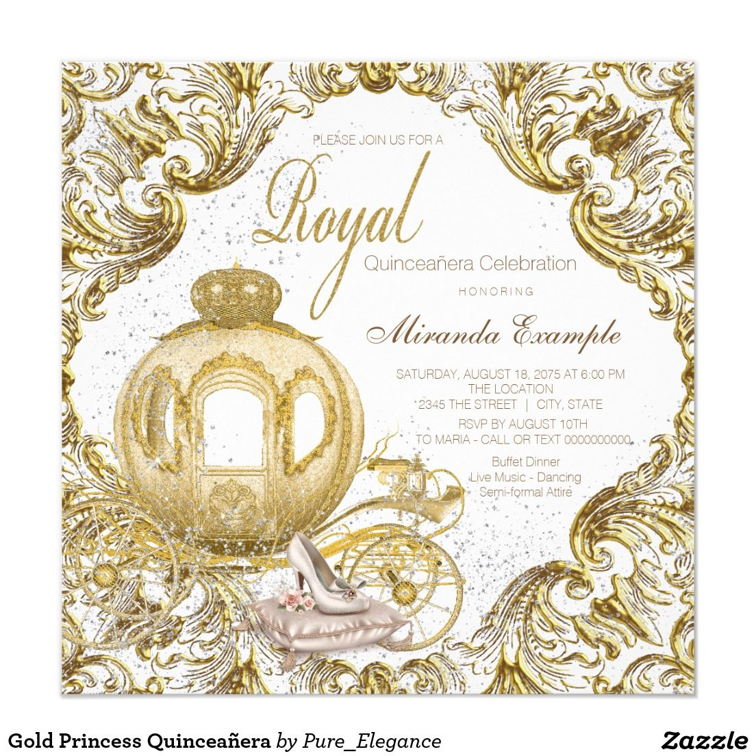 Gold Princess Quinceaera Card Princess invitations and Fairytale