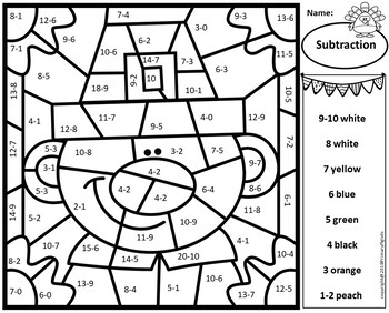Subtraction Color by Number Thanksgiving Math Mystery