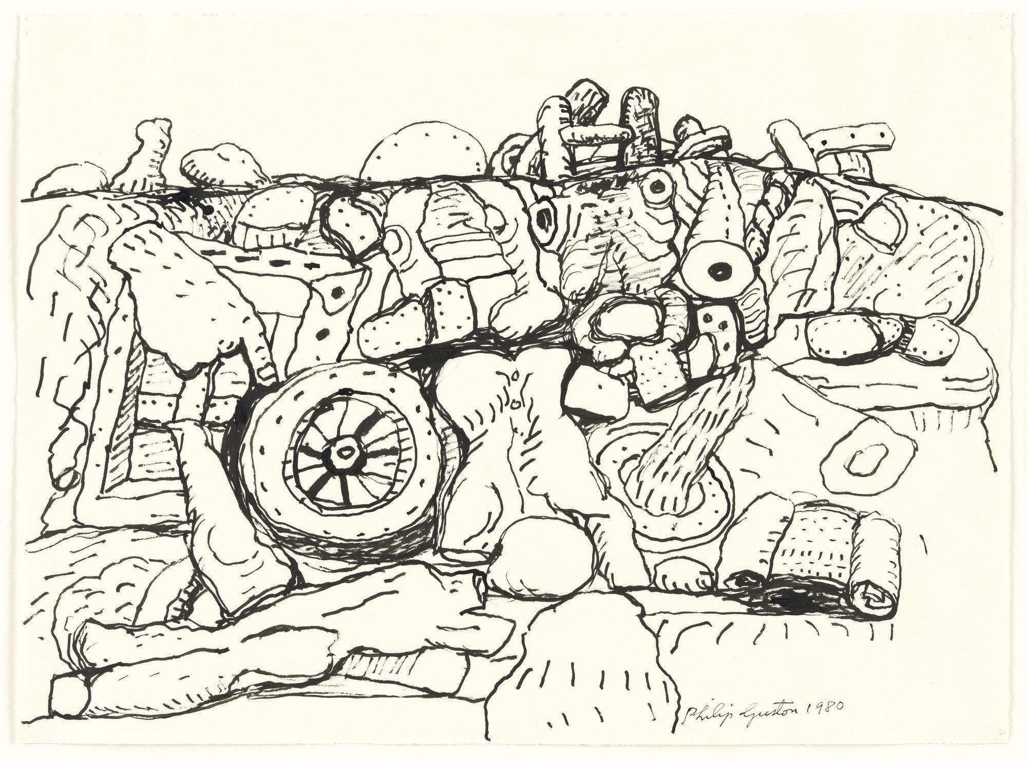 Philip Guston Wheel Ink On Paper 19 X 25 3 4 48