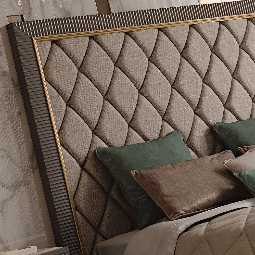 Italian Designer Art Deco Inspired Upholstered Bed with