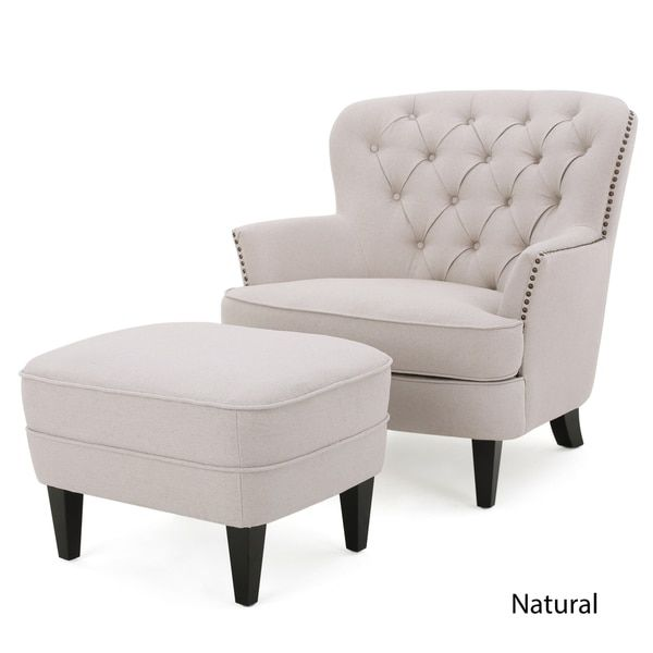 Christopher Knight Home Tafton Tufted Fabric Club Chair With Ottoman