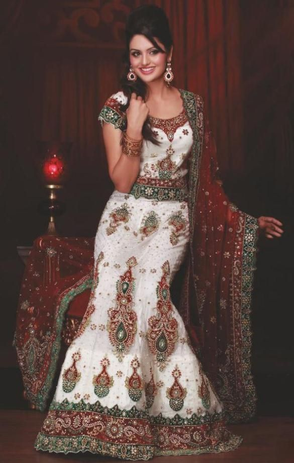 $690.68 Off White Net,Silk Bridal Lehenga 13771
