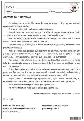 As Coisas Que A Gente Fala Atividades De Leitura Portugues