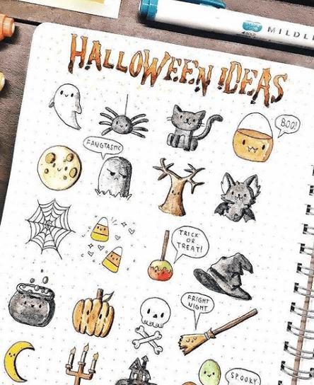 30+ Easy Halloween Doodles For Your Bullet Journal in 2020