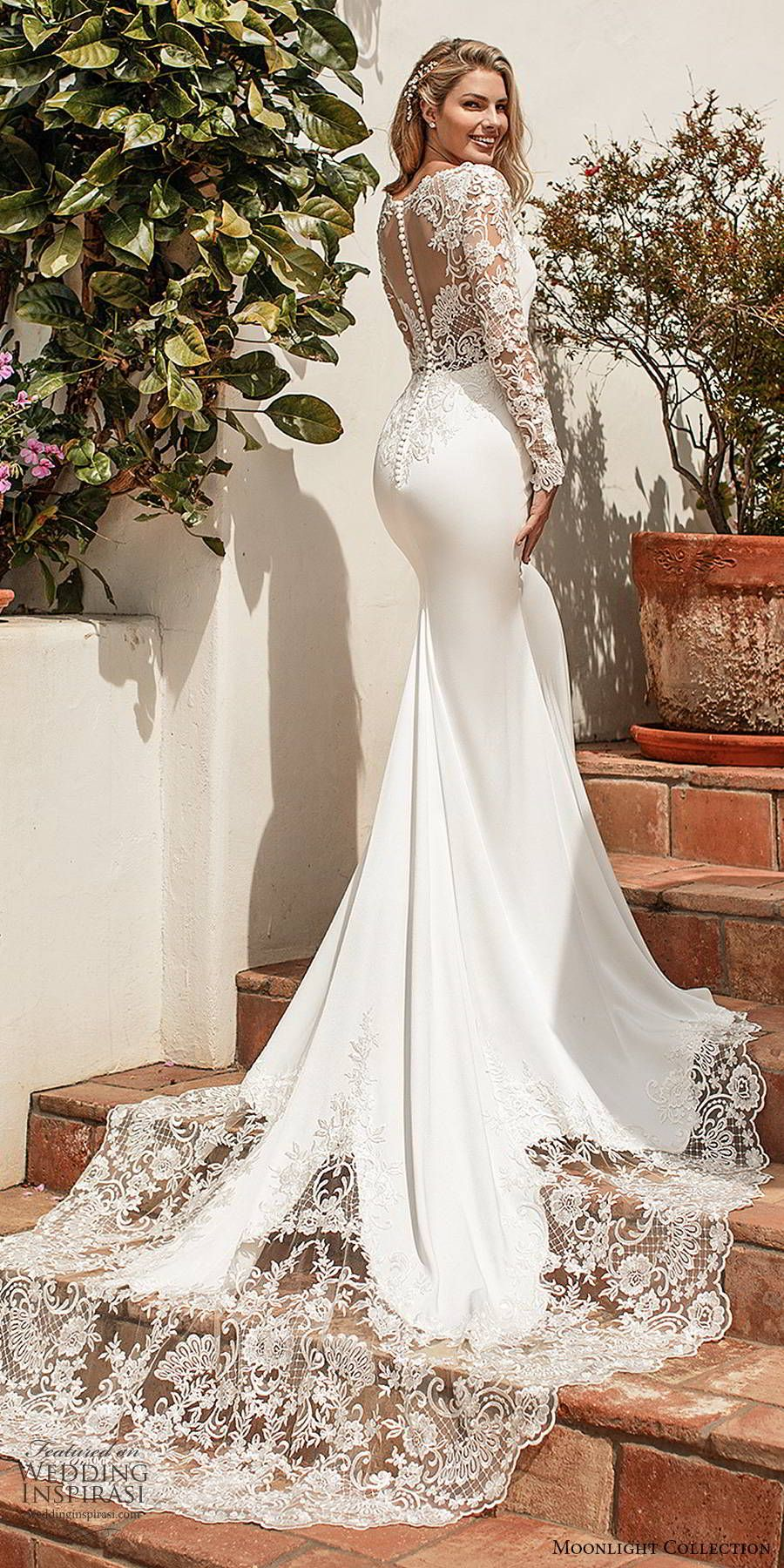 Moonlight Collection Spring 2020 Wedding Dresses Wedding Inspirasi Wedding Gowns Mermaid Wedding Dresses Mermaid Bling Dream Wedding Dresses [ 1800 x 900 Pixel ]