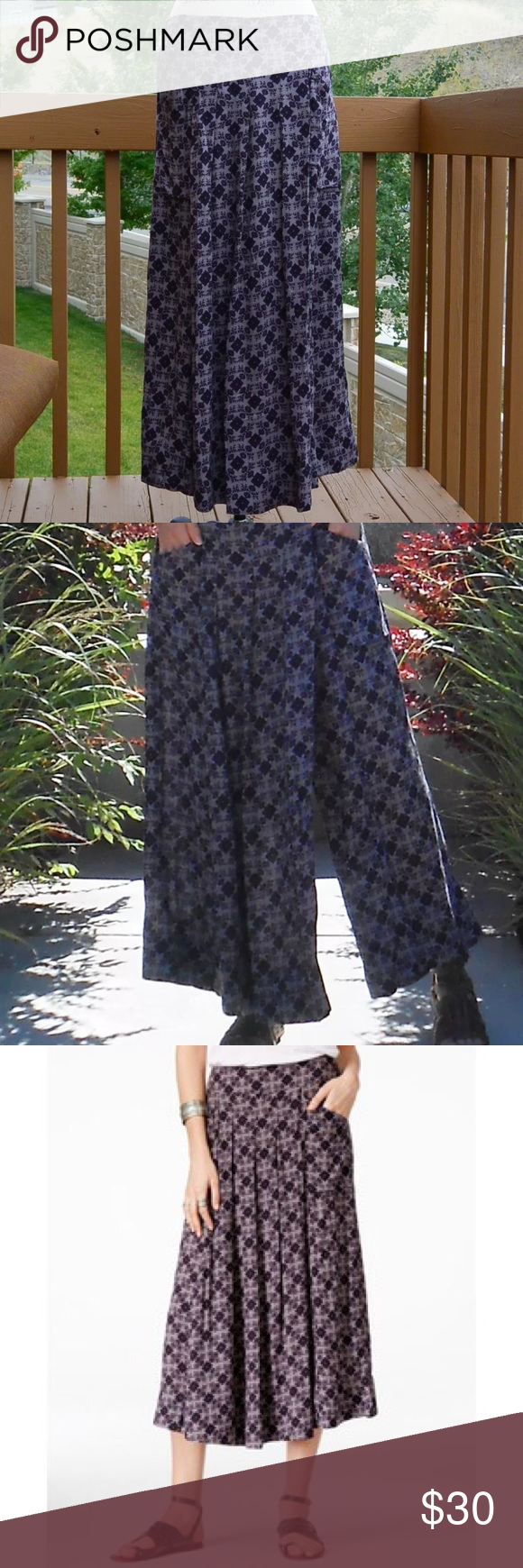 """FP swept away culottes Very unique! These """"pants"""" look like a maxi skirt from the front but are actually flowy wide leg culottes. Pull on style. I always received compliments on these. Worn 3x. Free People Pants"""