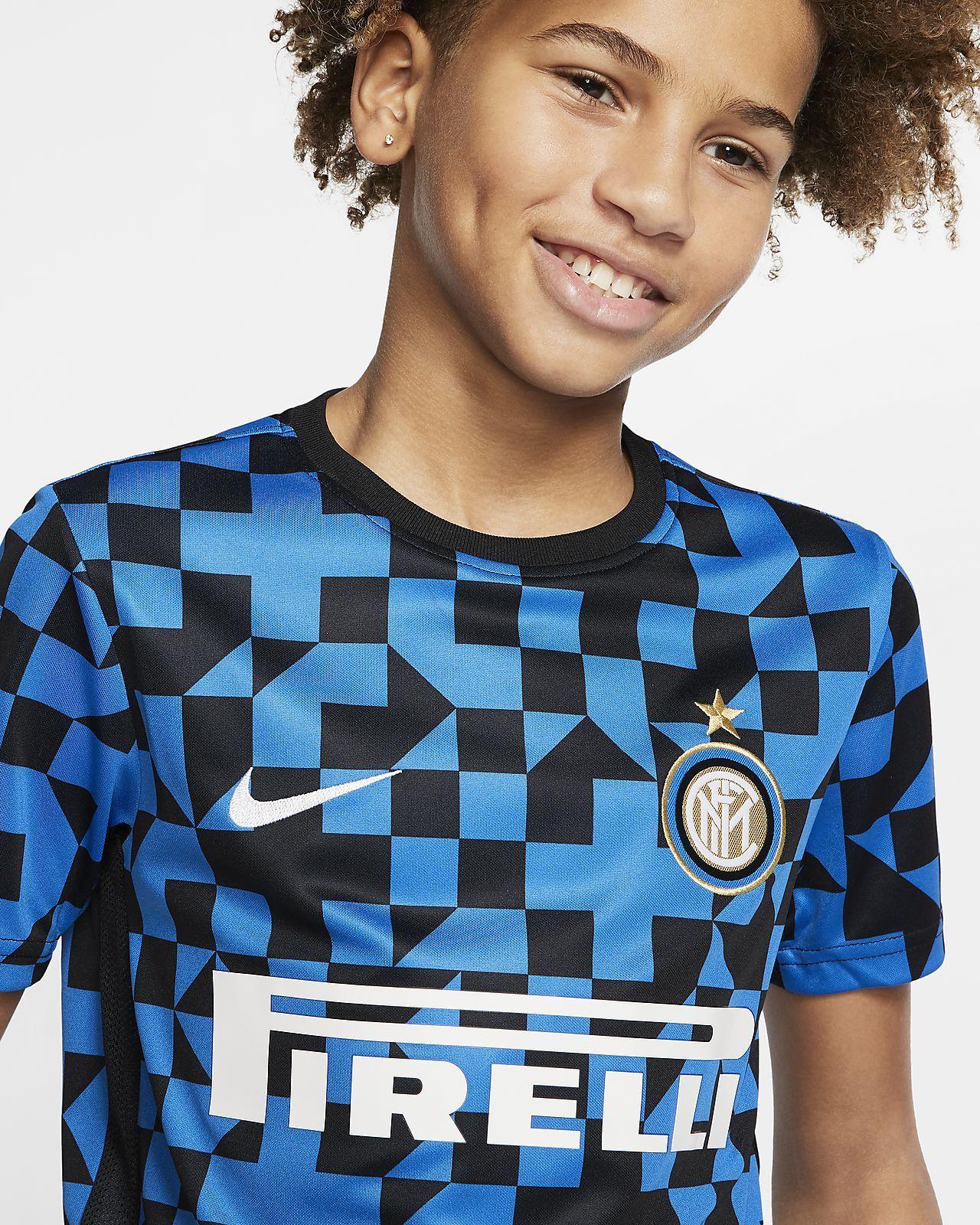 Inter milan older kids shortsleeve football top nike gb