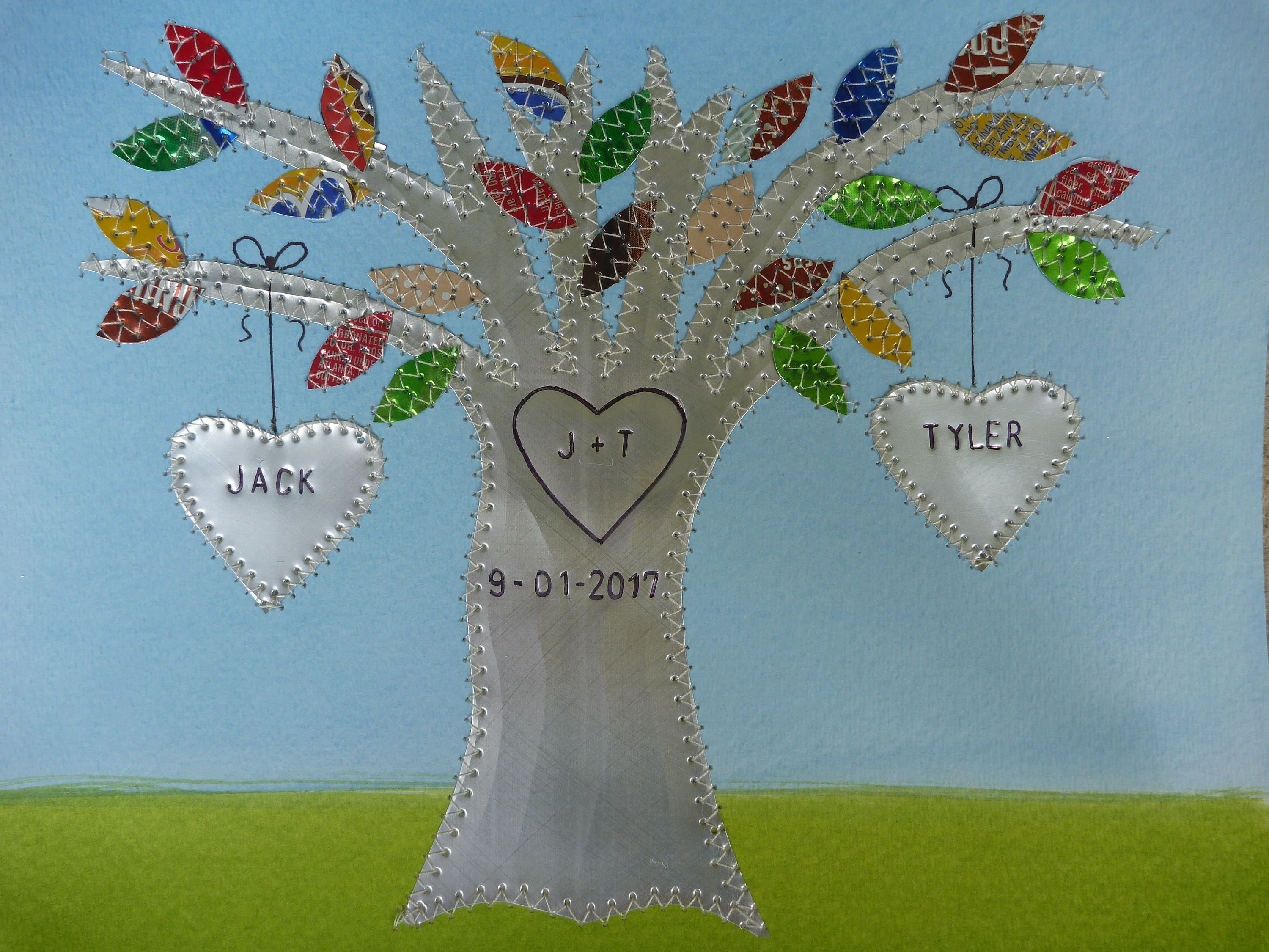 Year wedding anniversary tin anniversary gift hearts family